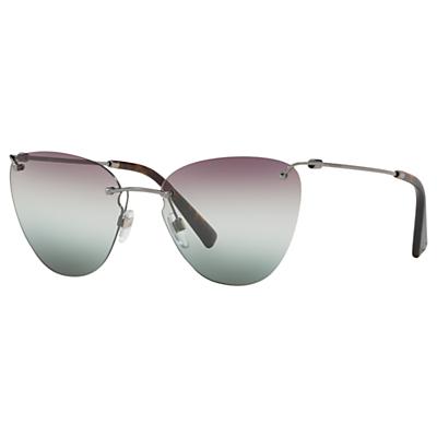 Valentino VA2022 Women's Cat's Eye Sunglasses, Silver/Multi Gradient