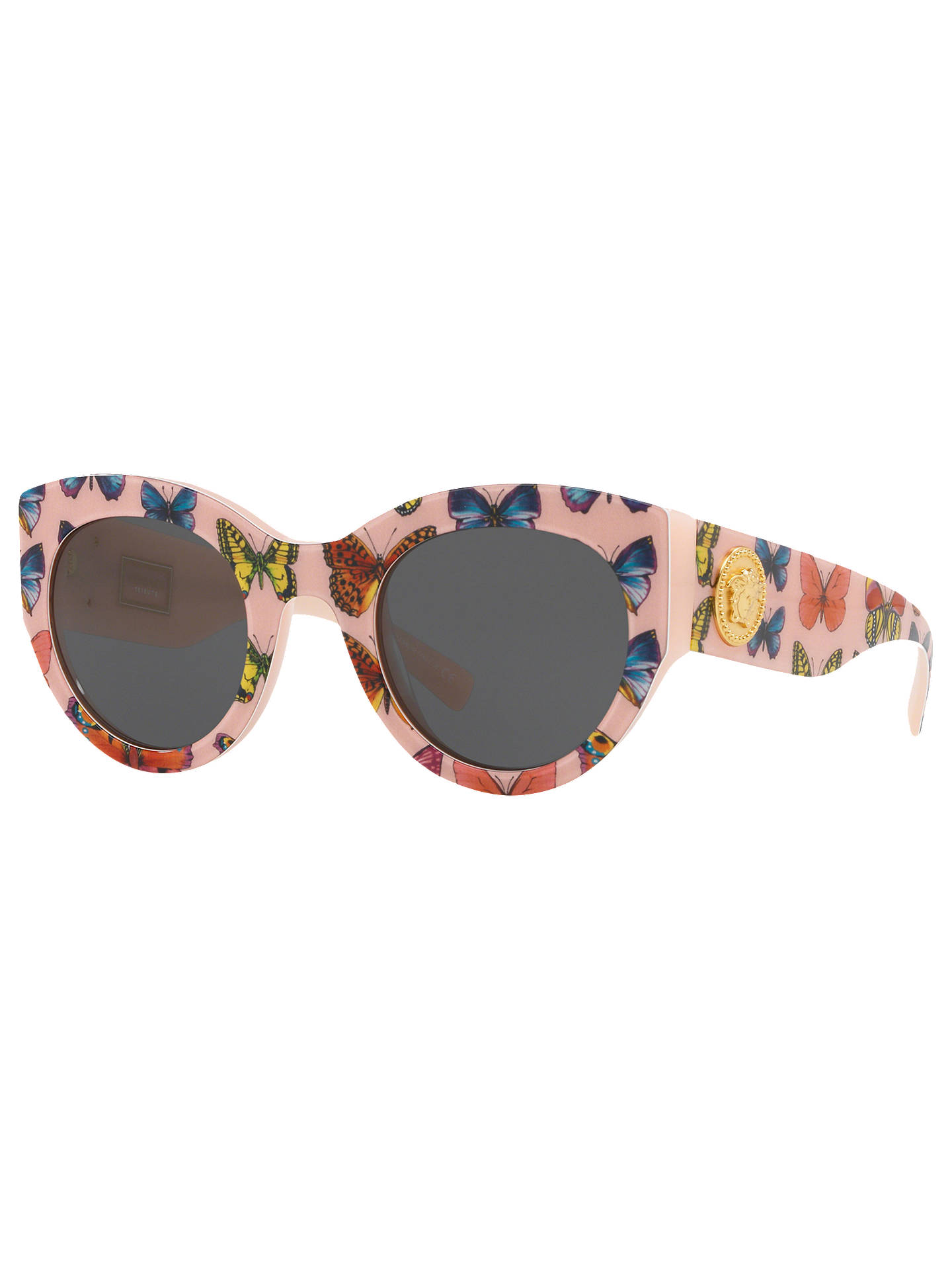 de88f92bcedf Buy Versace VE4353 Women's Cat's Eye Sunglasses, Pink Pattern/Grey Online  at johnlewis.