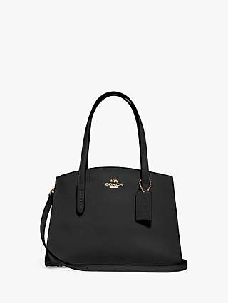 Coach Charlie 28 Leather Carryall Tote Bag, Black