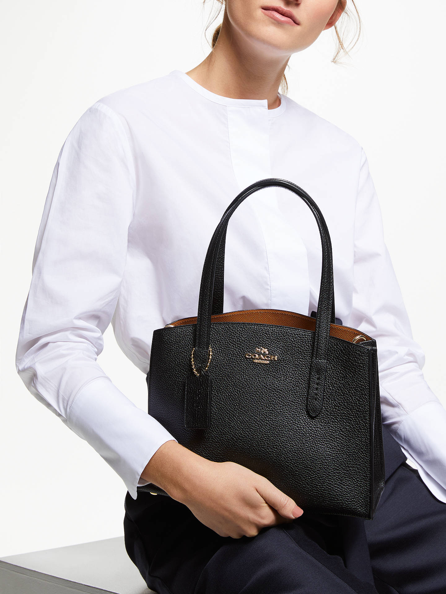 cfd3382a4e1f75 ... Buy Coach Charlie 28 Leather Carryall Tote Bag, Black Online at  johnlewis.com ...