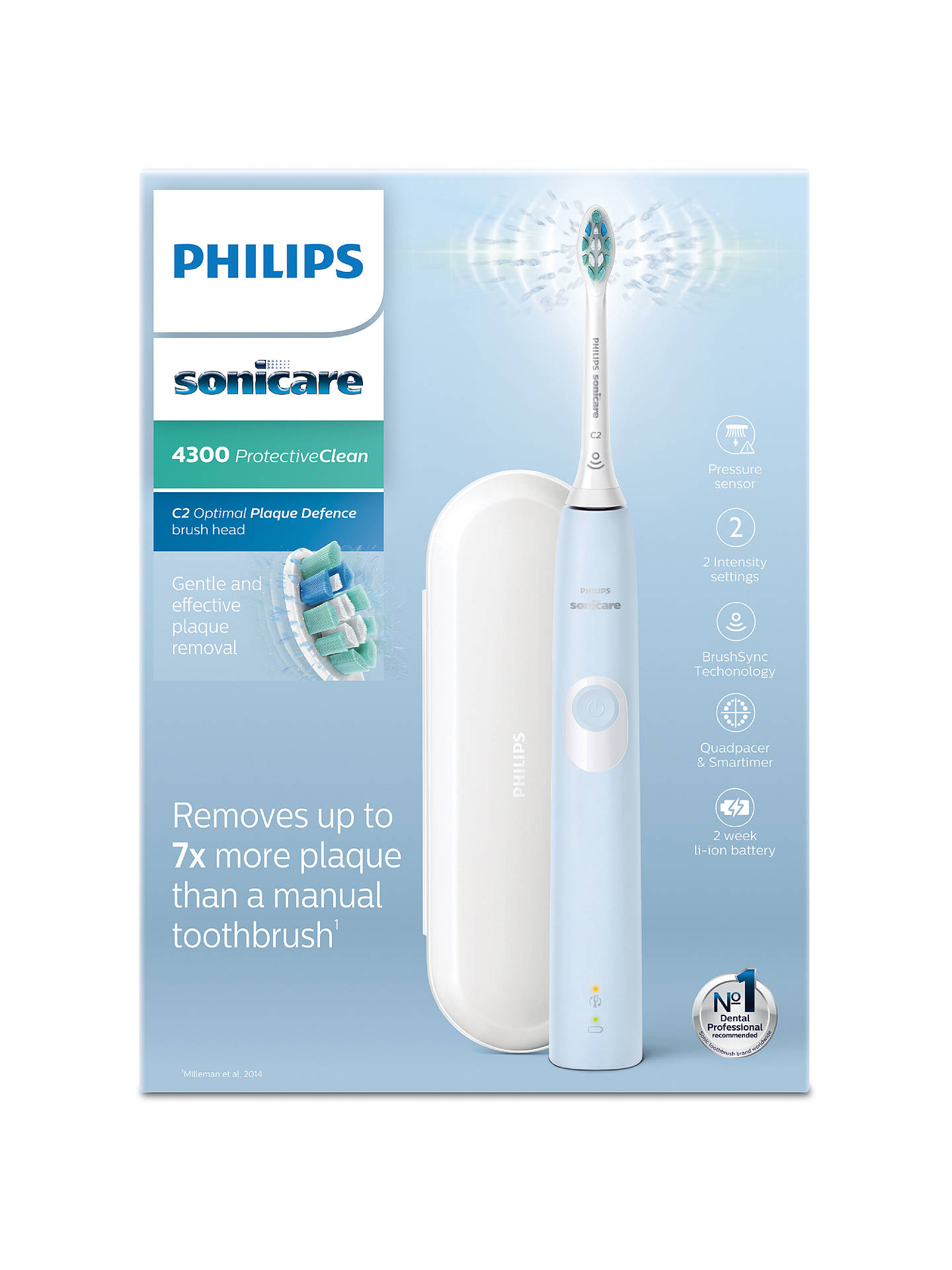 Buy Philips Sonicare HX6803/03 ProtectiveClean 4300 Rechargeable Sonic Electric Toothbrush, Blue Online at johnlewis.com