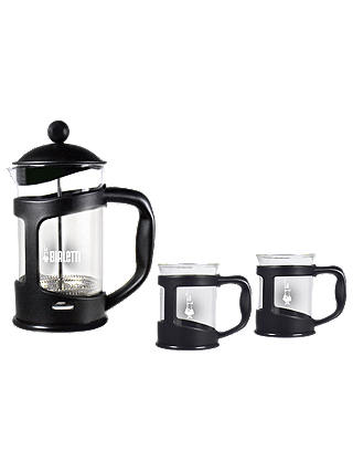 Buy Bialetti 800ml Coffee Press and 200ml Mugs Set, Clear/Black Online at johnlewis.com