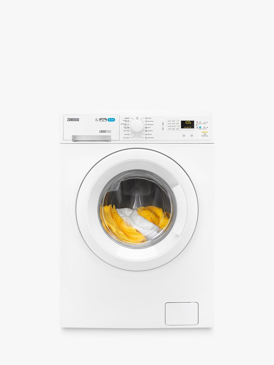Zanussi Zanussi ZWD81660NW Freestanding Washer Dryer, 8kg Wash/4kg Dry Load, A Energy Rating, 1600rpm Spin, White
