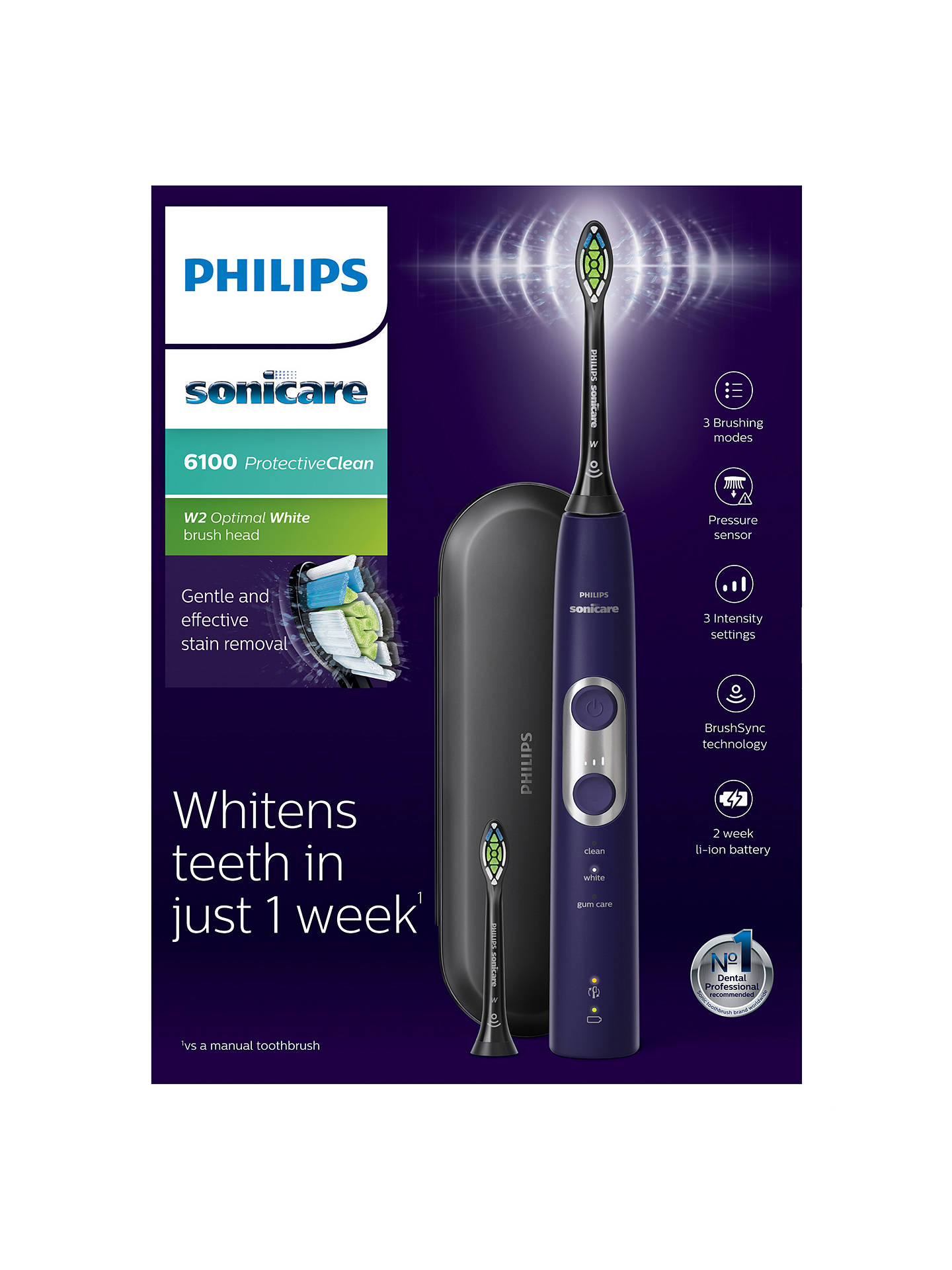 BuyPhilips Sonicare ProtectiveClean 6100 Rechargeable Sonic Electric Toothbrush, Purple Online at johnlewis.com