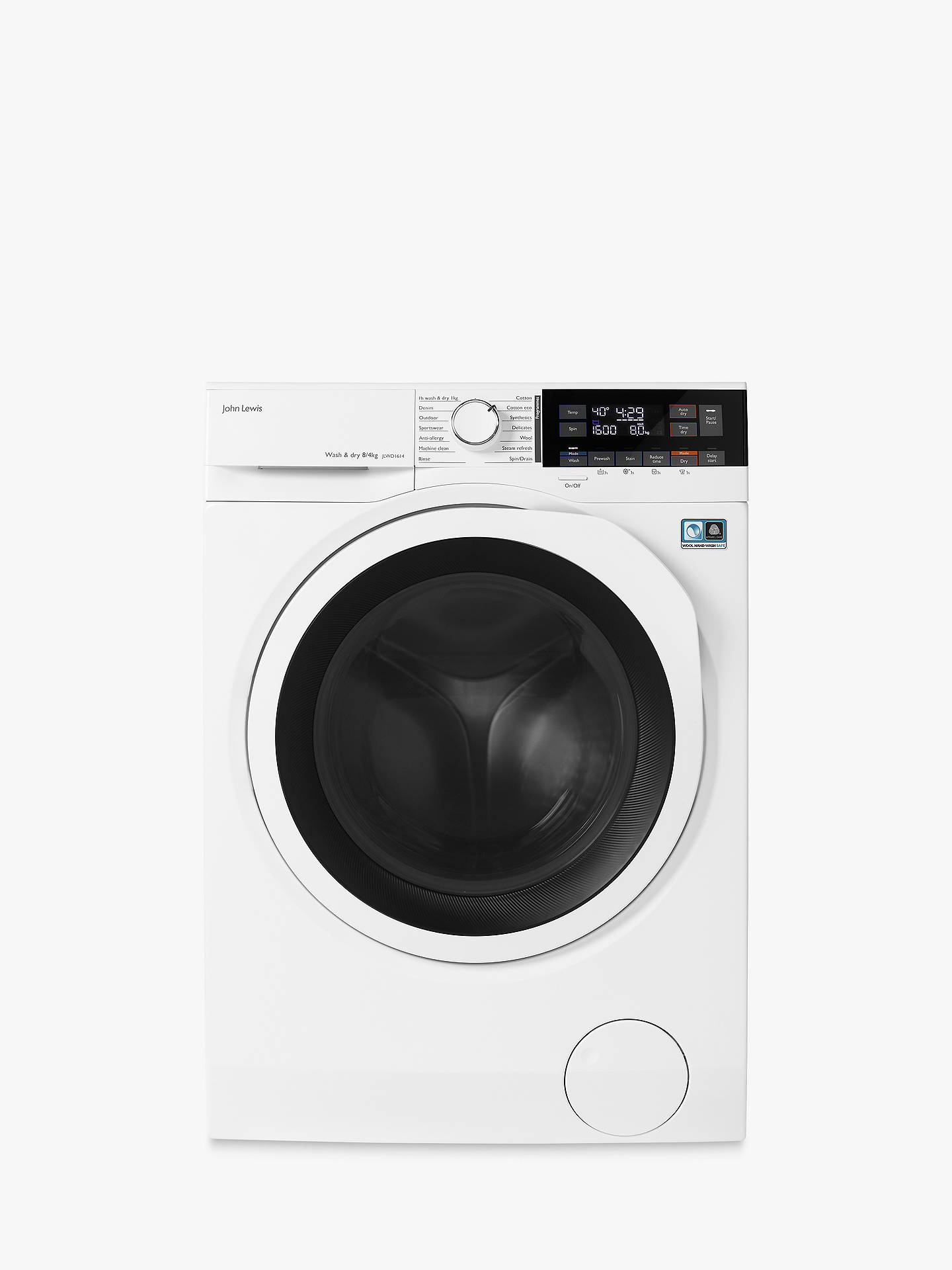 John Lewis & Partners JLWD1614 Freestanding Washer Dryer, 8kg Wash/4kg Dry  Load, A Energy Rating, 1600rpm Spin, White