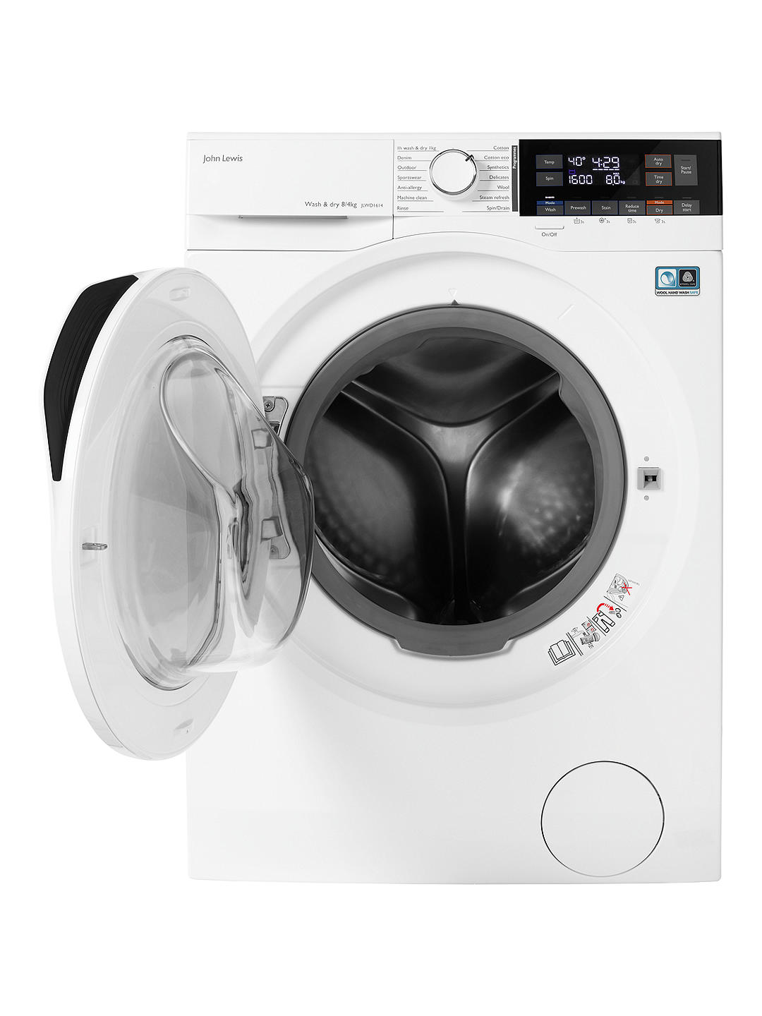 Buy John Lewis & Partners JLWD1614 Freestanding Washer Dryer, 8kg Wash/4kg Dry Load, A Energy Rating, 1600rpm Spin, White Online at johnlewis.com