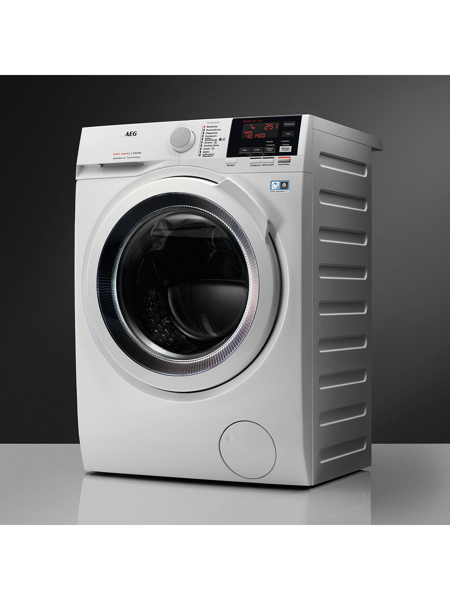 Buy AEG L7WEE861R Freestanding Washer Dryer, 8kg Wash/6kg Dry Load, A Energy Rating, White Online at johnlewis.com
