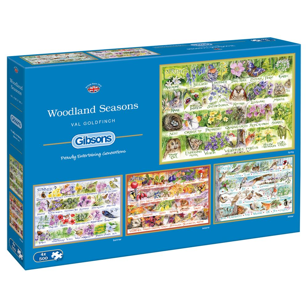 Gibsons Gibsons Woodland Seasons Jigsaw Puzzle, Set of 4, 500 pieces