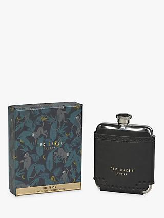Ted Baker Black Brogue Hip Flask, 170ml