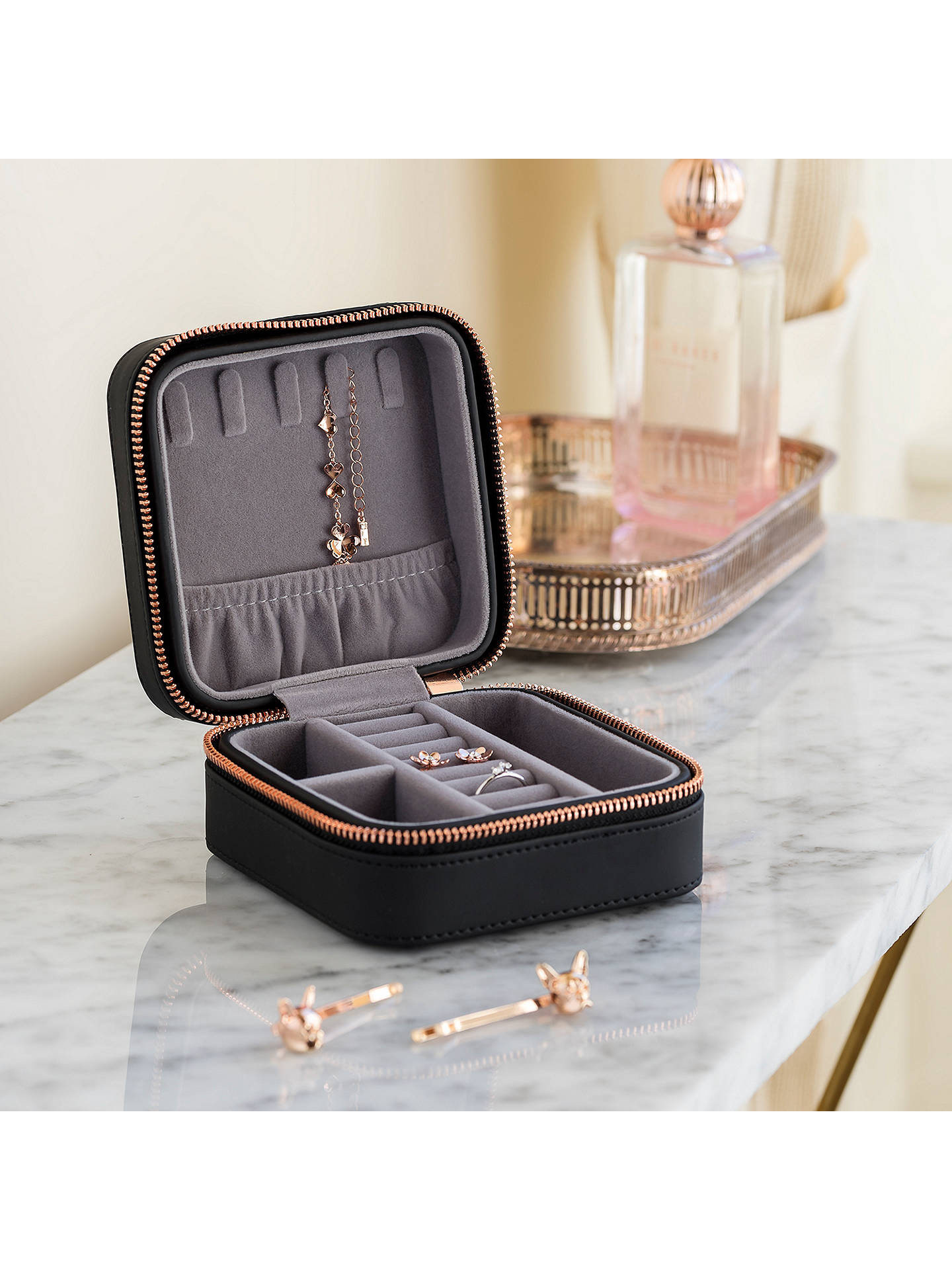 BuyTed Baker Zipped Jewellery Case, Black Online at johnlewis.com