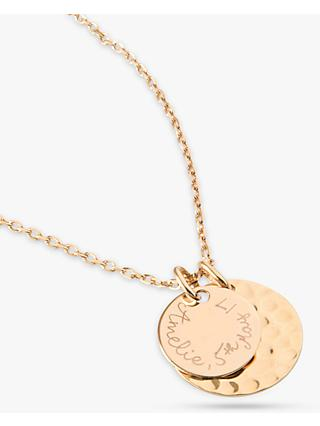 Merci Maman Personalised Double Hammered and Polished Disc Pendant Necklace