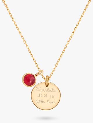 Merci Maman Personalised Disc and Birthstone Pendant Necklace
