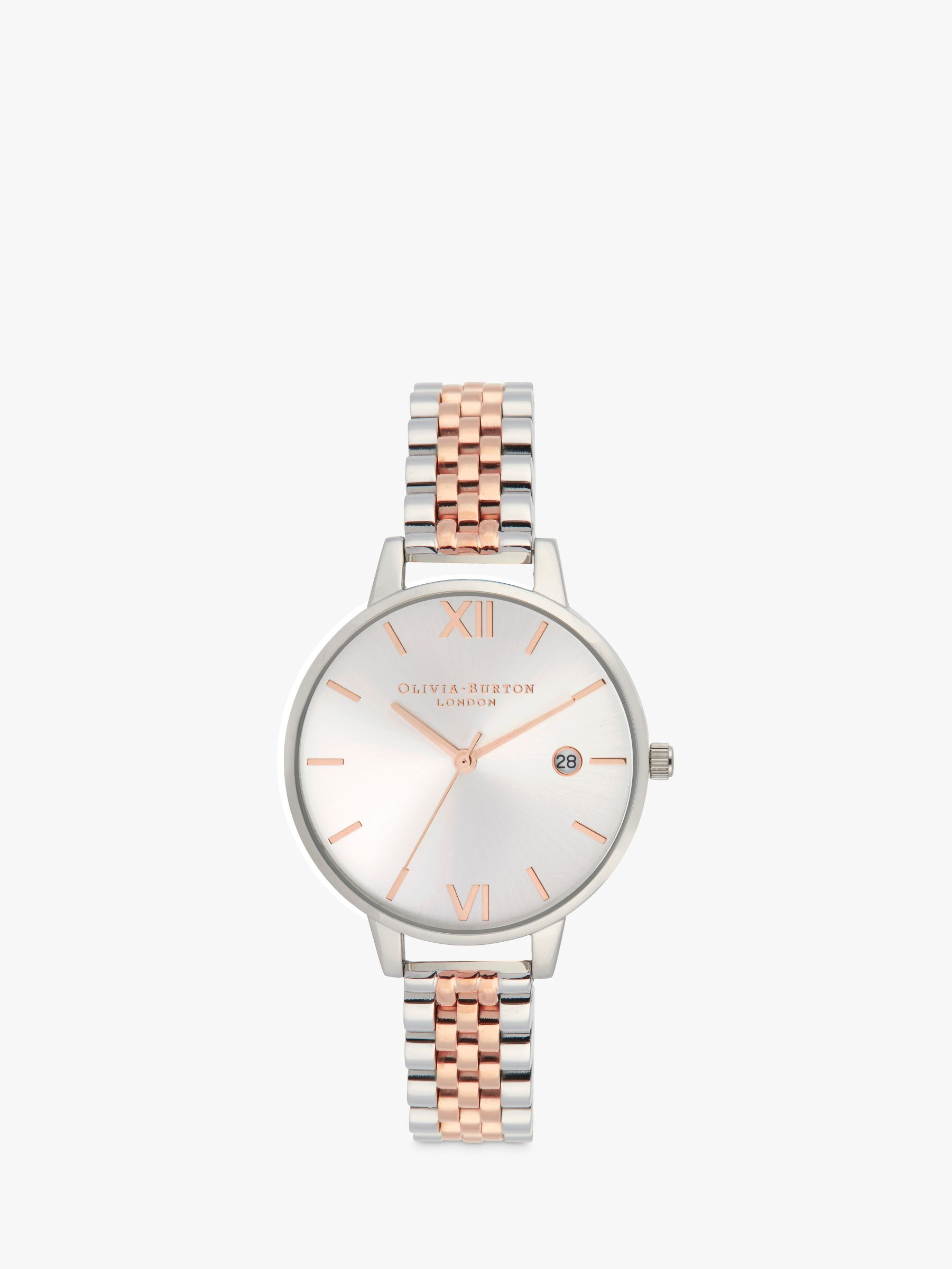 Olivia Burton Olivia Burton OB16DE06 Women's Demi Date Mesh Bracelet Strap Watch, Silver/Rose Gold