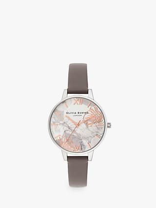 Olivia Burton OB16VM32 Women's Abstract Florals Leather Strap Watch, Dark Grey/White