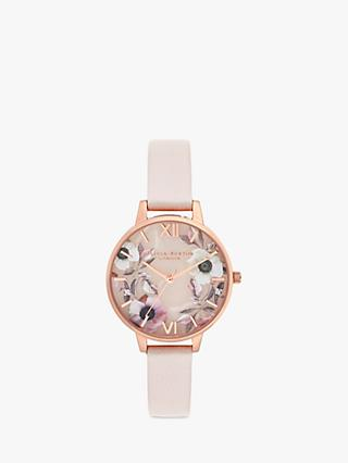 Olivia Burton OB16SP14 Women's Semi Precious Leather Strap Round Watch, Blush/Multi