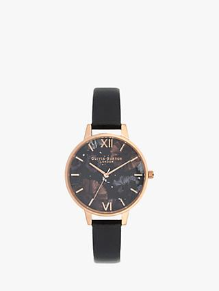 Olivia Burton OB16GD22 Women's Celestial Leather Strap Watch, Black/Multi
