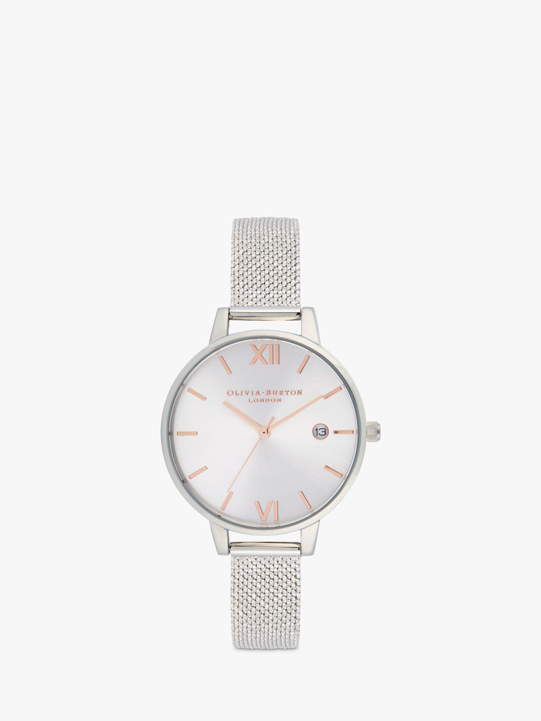 Olivia Burton Olivia Burton OB16DE01 Women's Demi Date Mesh Bracelet Strap Watch, Silver/White