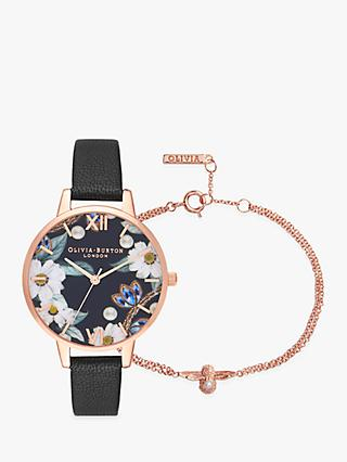 Olivia Burton OB16GSET24 Women's Bejewelled Floral Watch and Bracelet Gift Set, Multi
