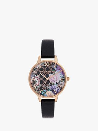 Olivia Burton OB16GH11 Women's Glasshouse Leather Strap Watch, Black/Multi