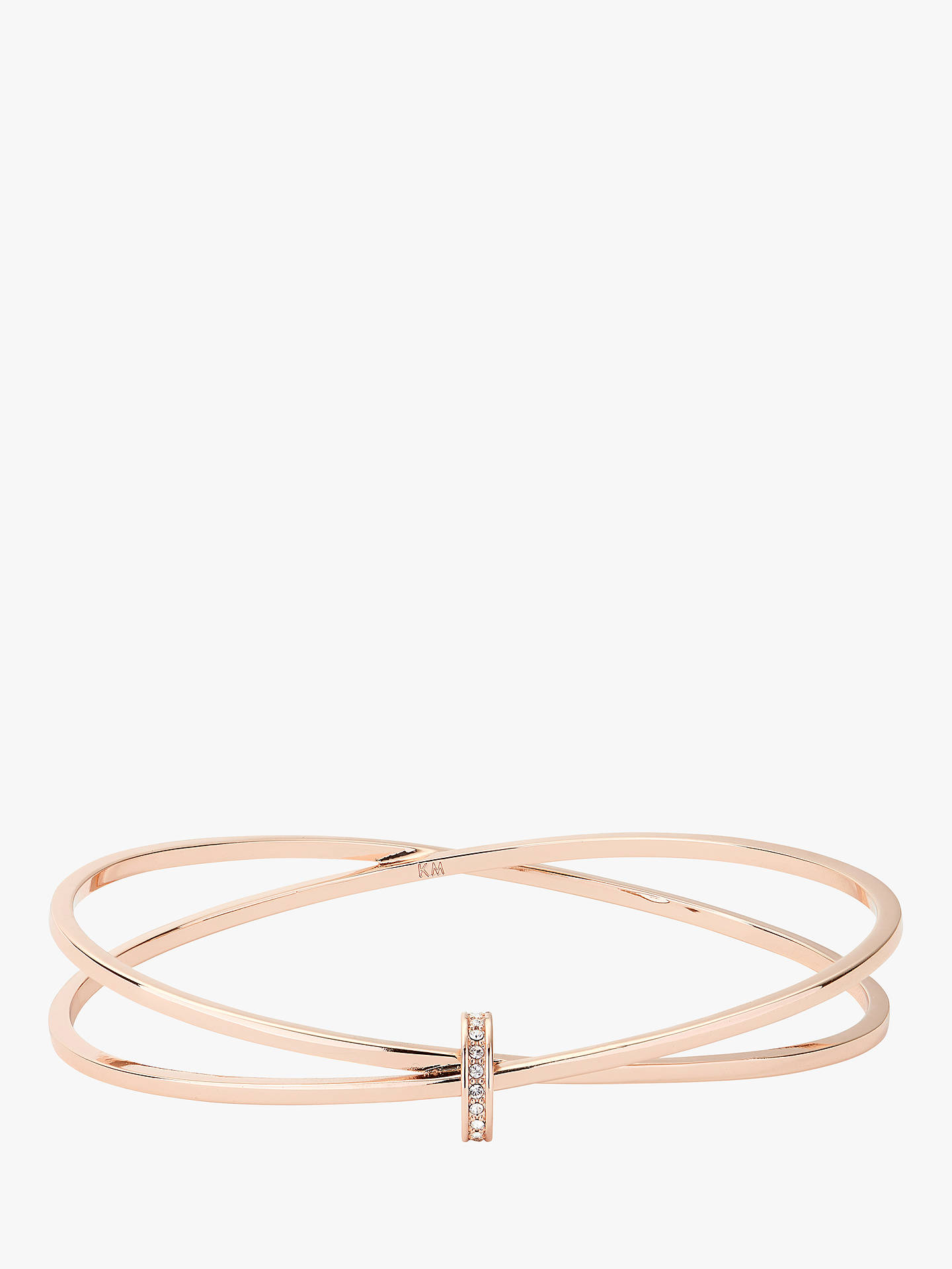 Buy Karen Millen Swarovski Crystal Interlinked Double Slim Bangle, Rose Gold Online at johnlewis.com