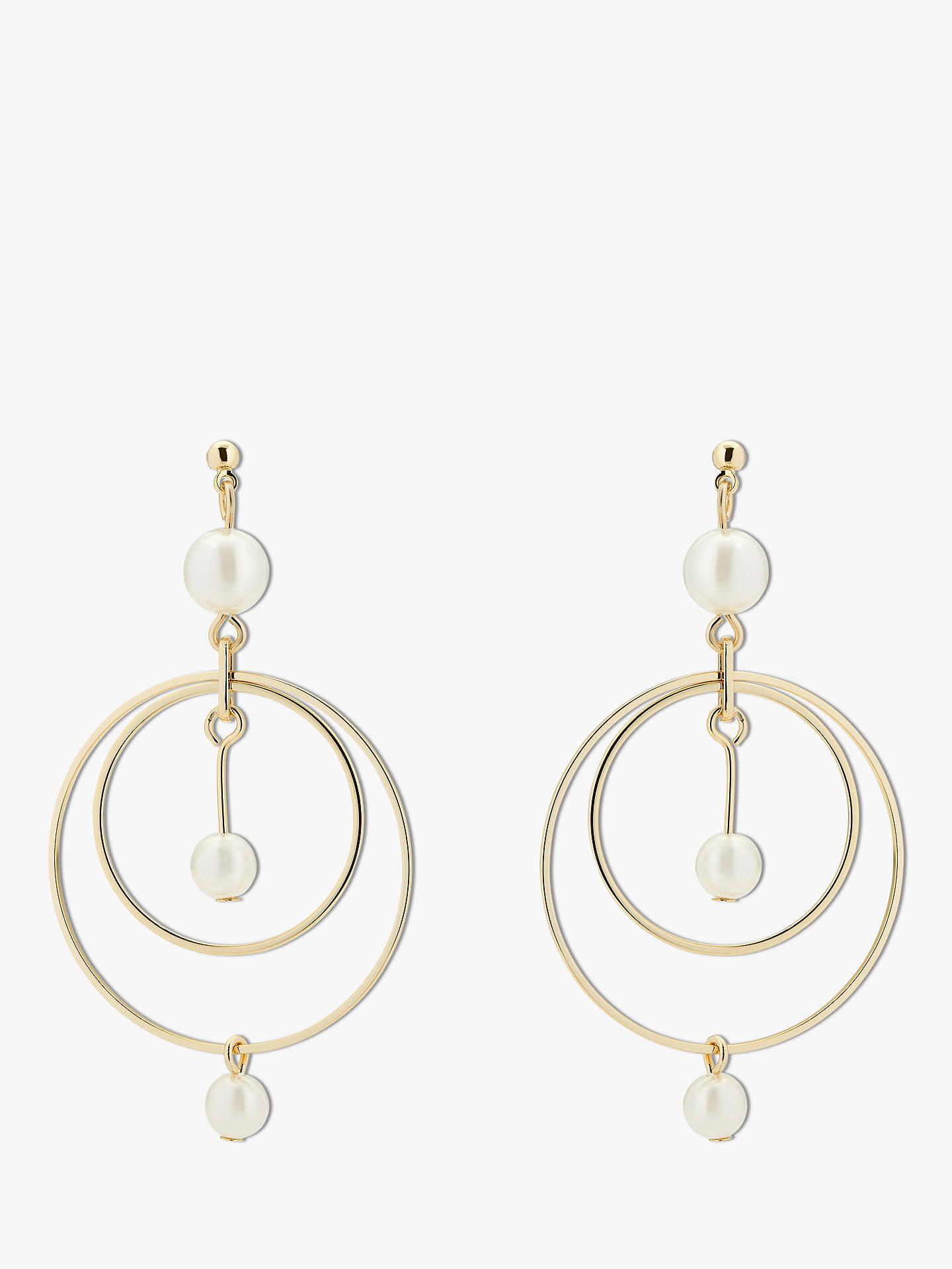 250c23d8337 Buy Karen Millen Faux Pearl Double Circle Drop Earrings