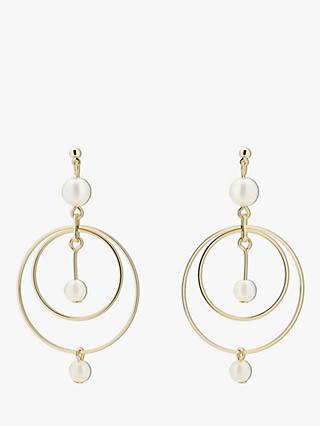 Karen Millen Faux Pearl Double Circle Drop Earrings, Gold