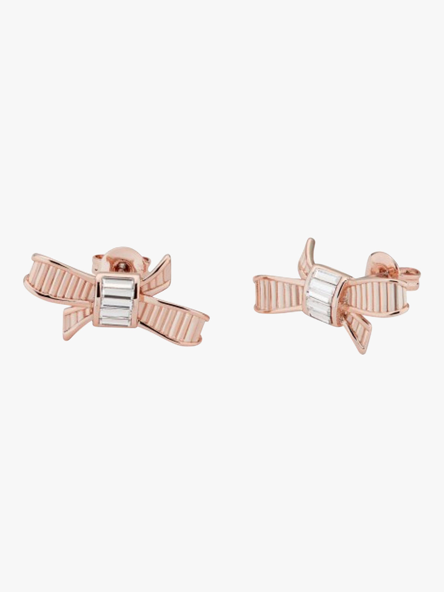 Buy Ted Baker Bow Swarovski Crystal Stud Earrings, Rose Gold Online at johnlewis.com
