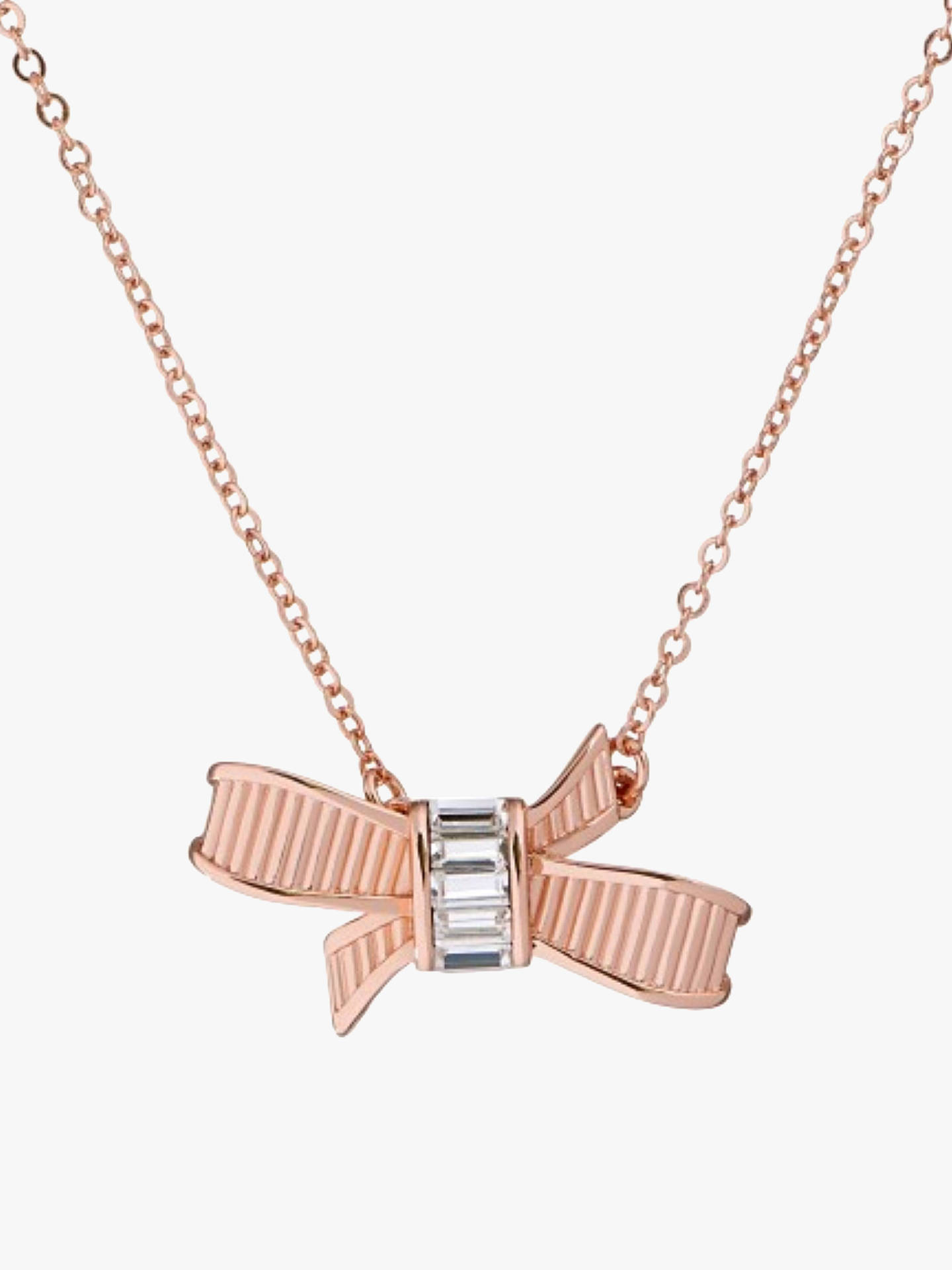 BuyTed Baker Dameka Ribbon Bow Pendant Necklace, Rose Gold Online at johnlewis.com