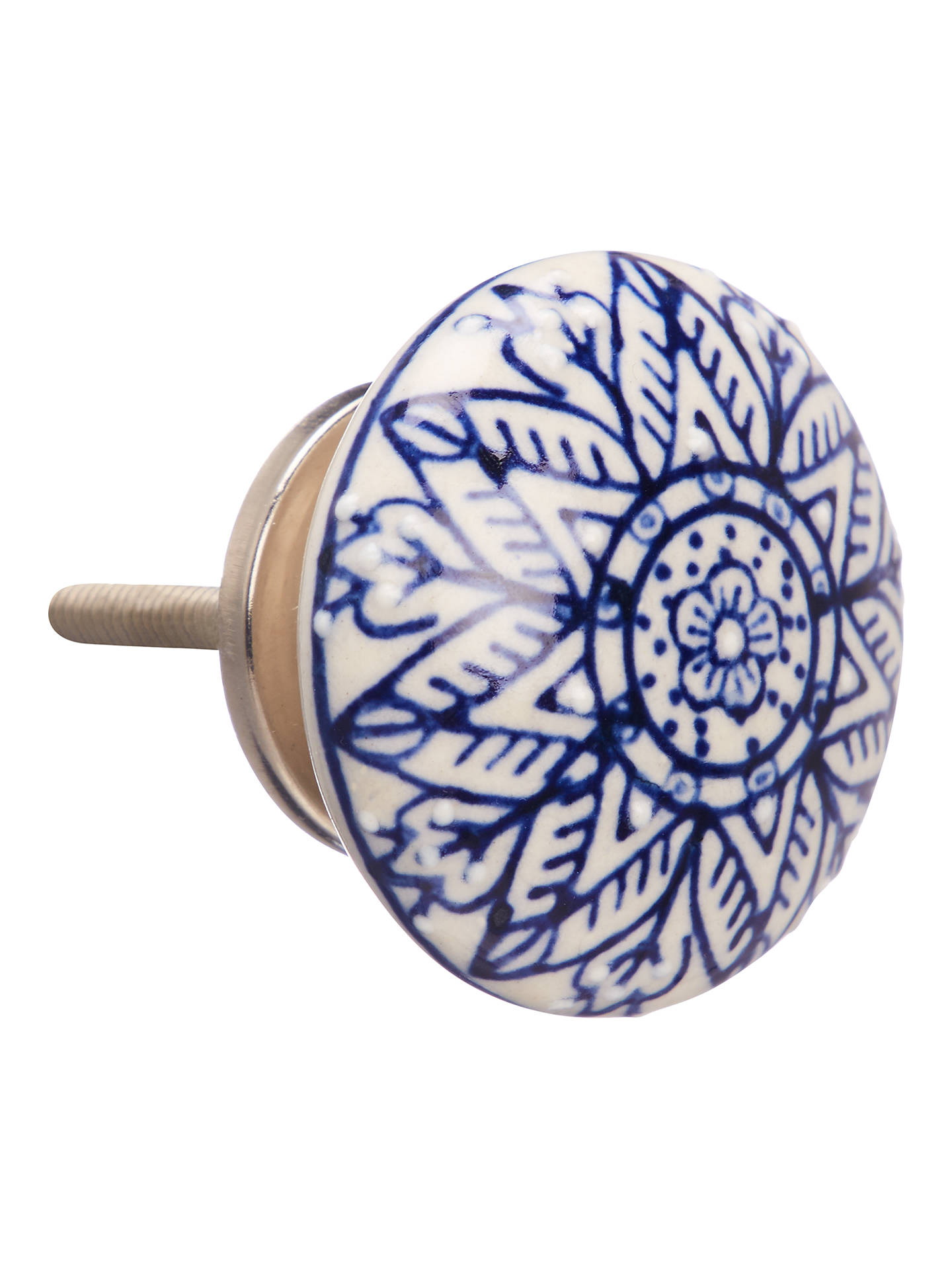 BuyJohn Lewis & Partners Embossed Ceramic Cupboard Knob, Blue/White Online at johnlewis.com