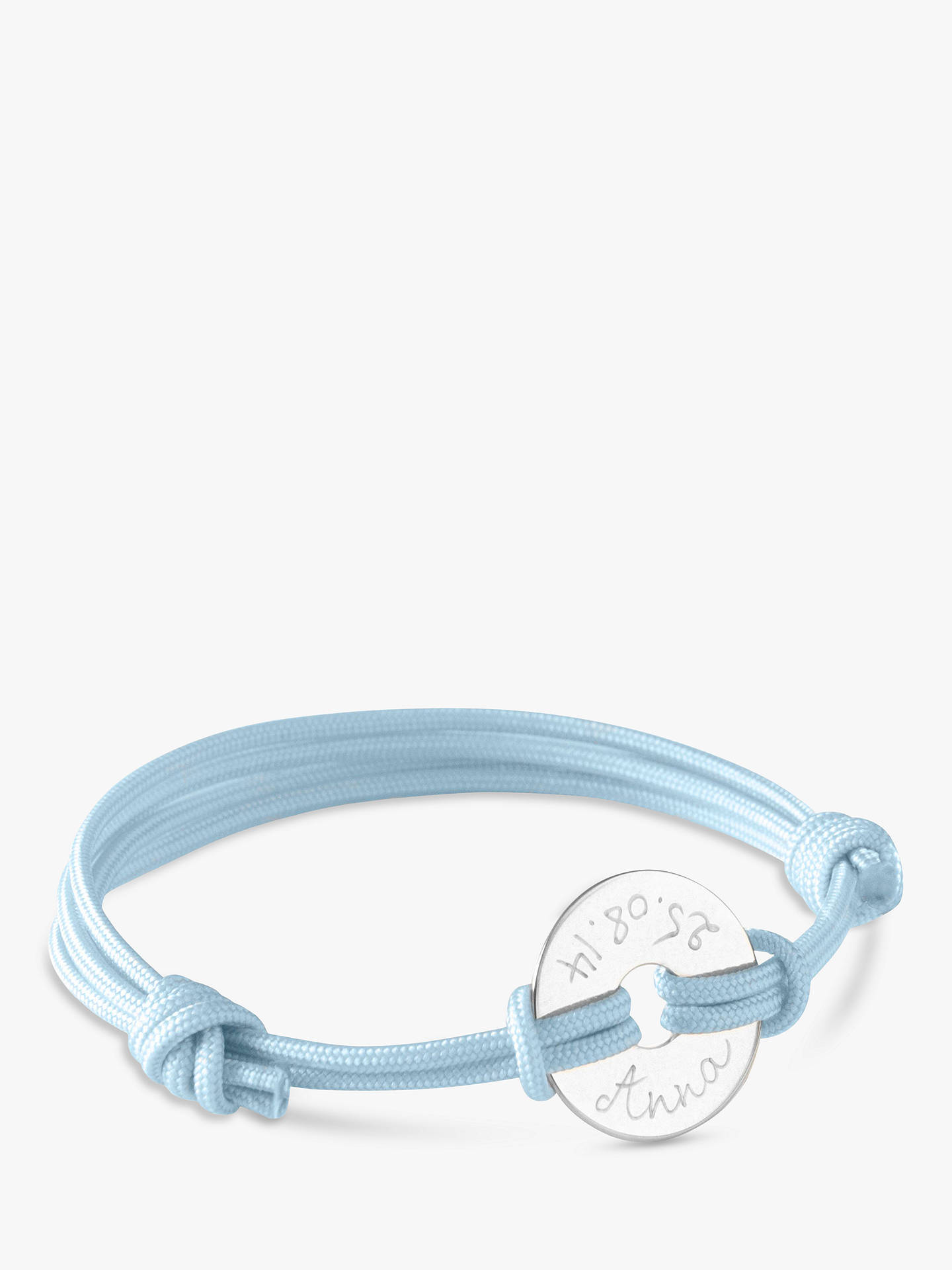 BuyMerci Maman Personalised Mini Open Disc Bracelet, Silver/Blue Online at johnlewis.com