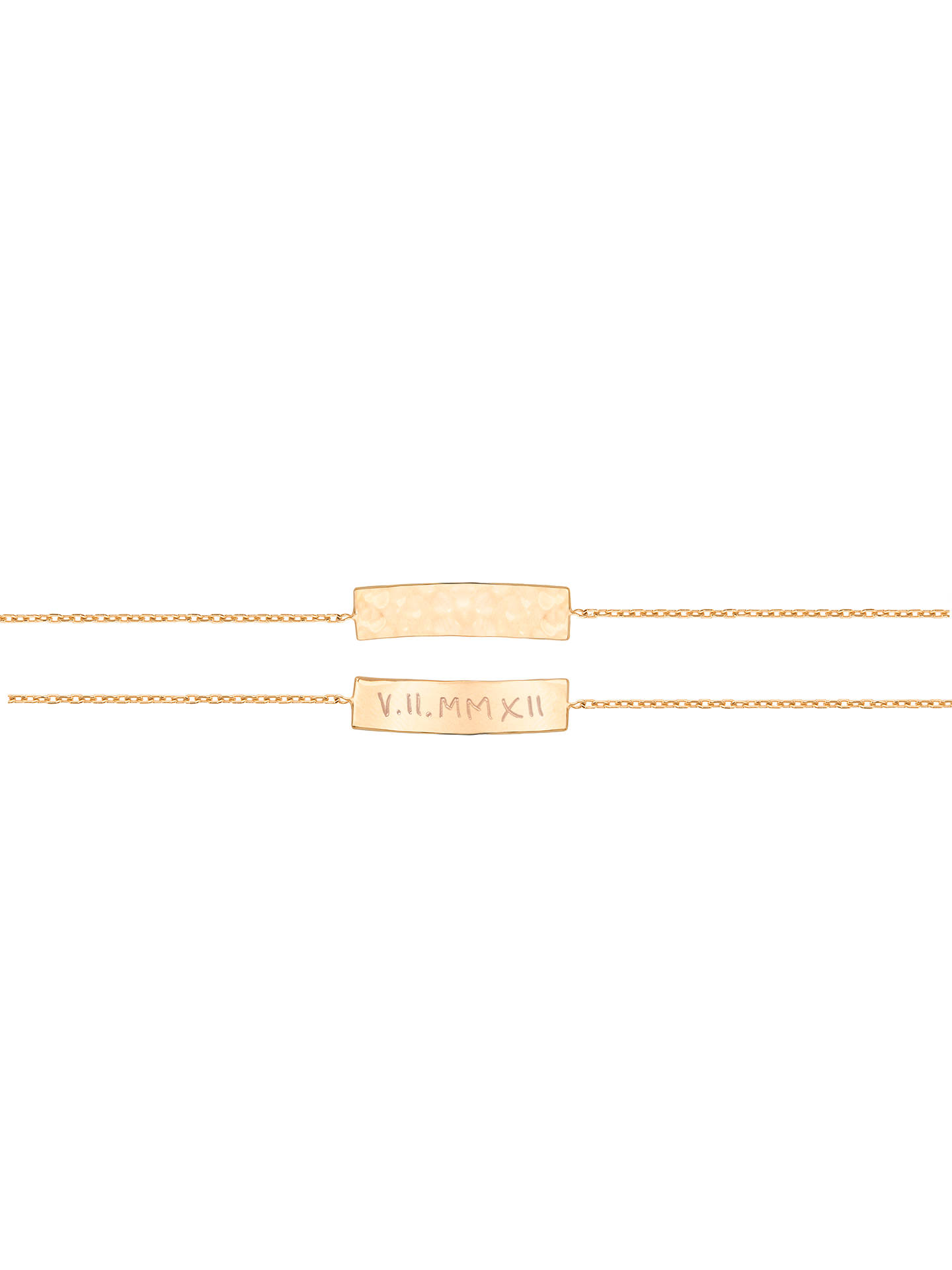 BuyMerci Maman Personalised Hammered Bar Chain Bracelet, Gold Online at johnlewis.com