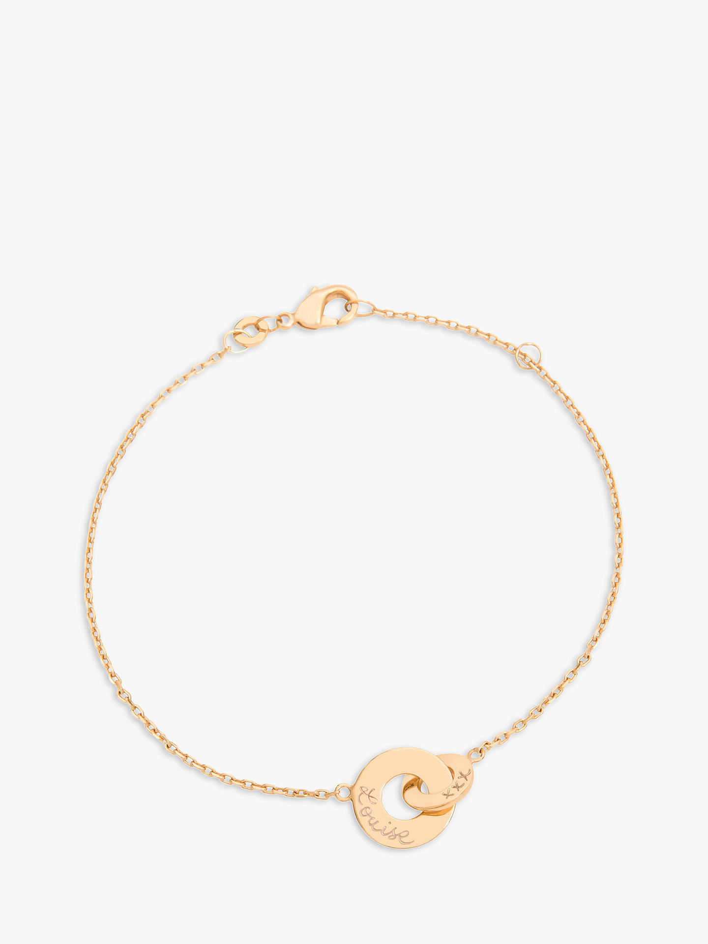 Buy Merci Maman Personalised Mini Intertwined Circle Chain Bracelet, Gold Online at johnlewis.com