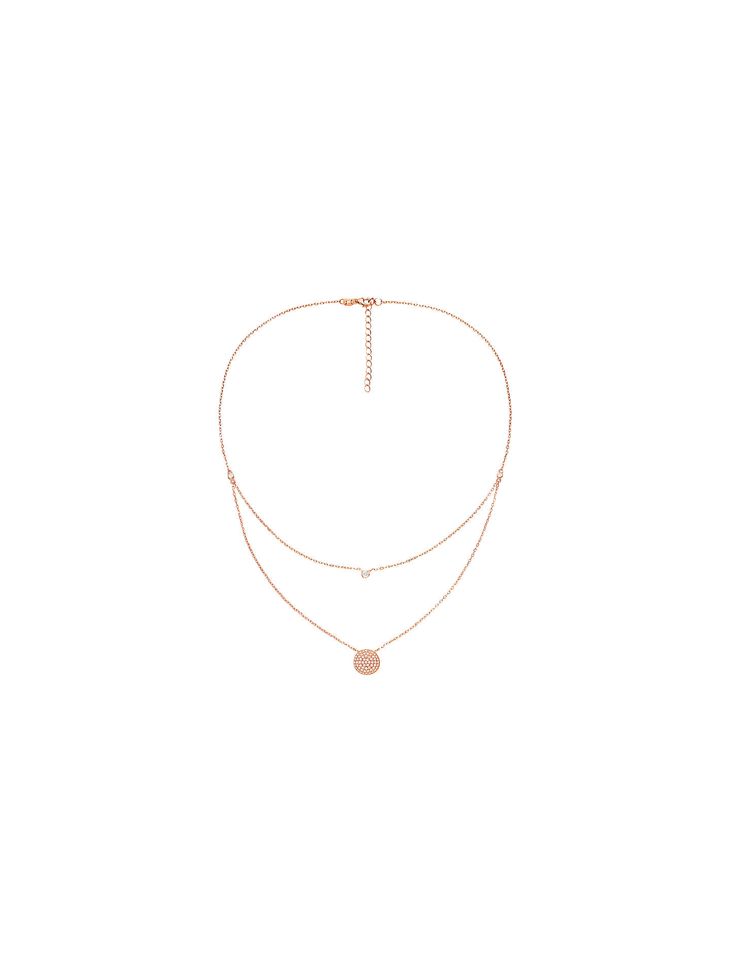 Buy Folli Follie Cubic Zirconia Layered Pendant Necklace, Rose Gold Online at johnlewis.com