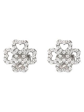 Folli Follie Cubic Ziconia Heart Four Leaf Clover Stud Earrings