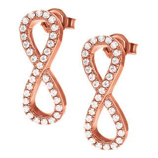 Folli Follie Cubic Zirconia Infinity Drop Earrings Rose Gold