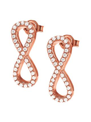 Folli Follie Cubic Zirconia Infinity Drop Earrings, Rose Gold