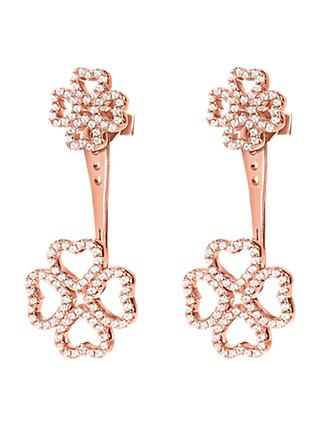 Folli Follie Heart Leaf Clover Cuff Earrings, Rose Gold