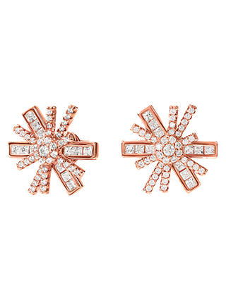 Buy Folli Follie Cubic Zirconia Star Stud Earrings, Rose Gold Online at johnlewis.com