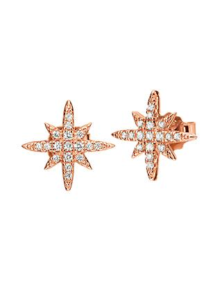 Folli Follie Cubic Zirconia Star Stud Earrings, Rose Gold