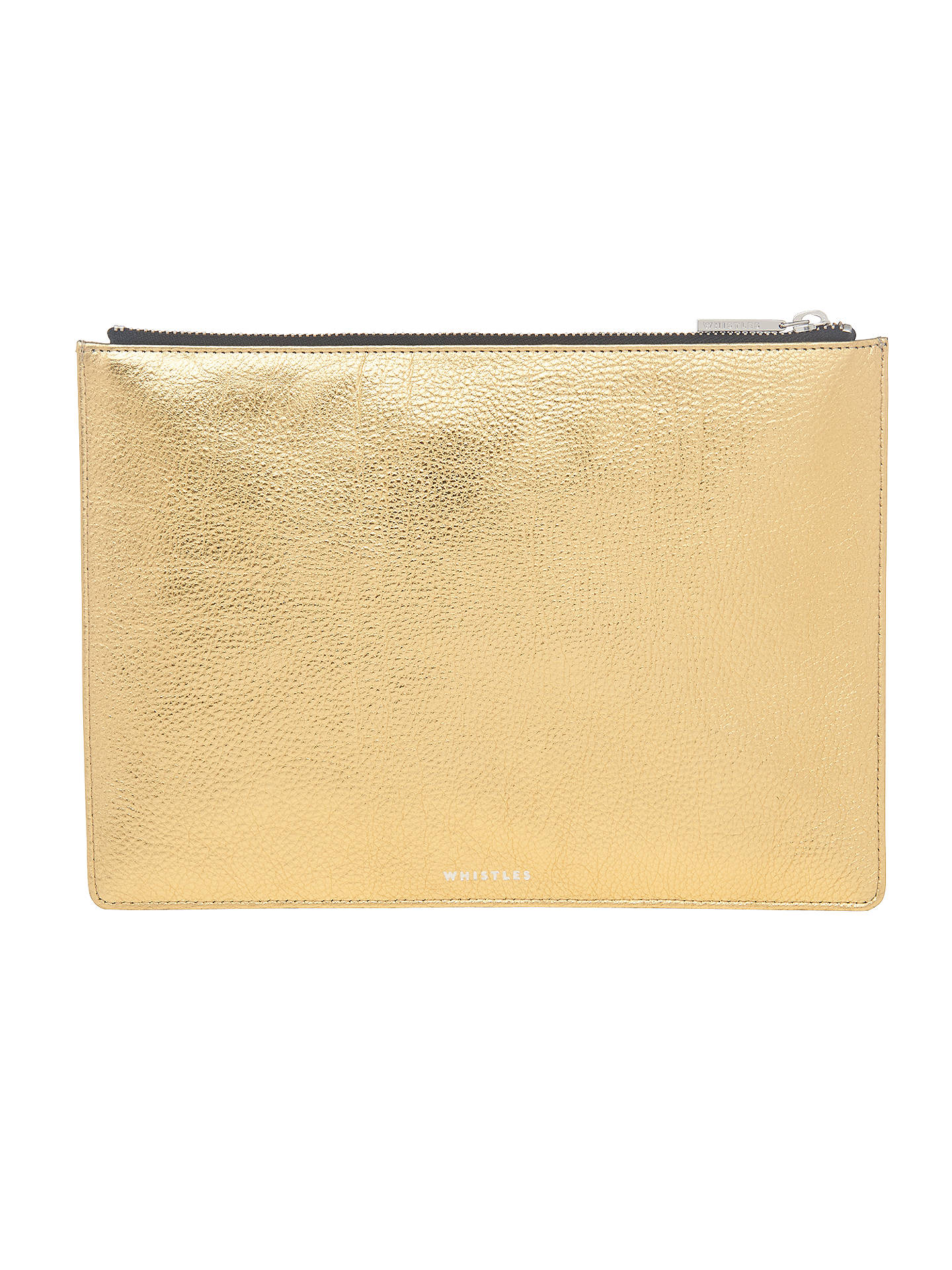 select for official brand quality super cheap Whistles Leather Medium Clutch Bag, Gold