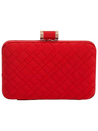 Phase Eight Clio Weave Box Clutch Bag, Carmine