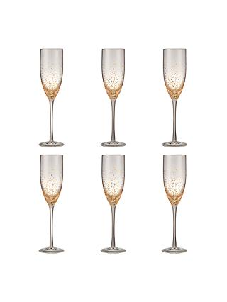 John Lewis & Partners Speckle Champagne Flute, Set of 6, 230ml, Clear/Gold