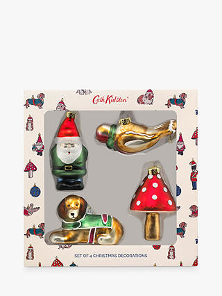 Buy Cath Kidston Blown Glass Christmas Tree Decorations, Set of 4 Online at johnlewis.com
