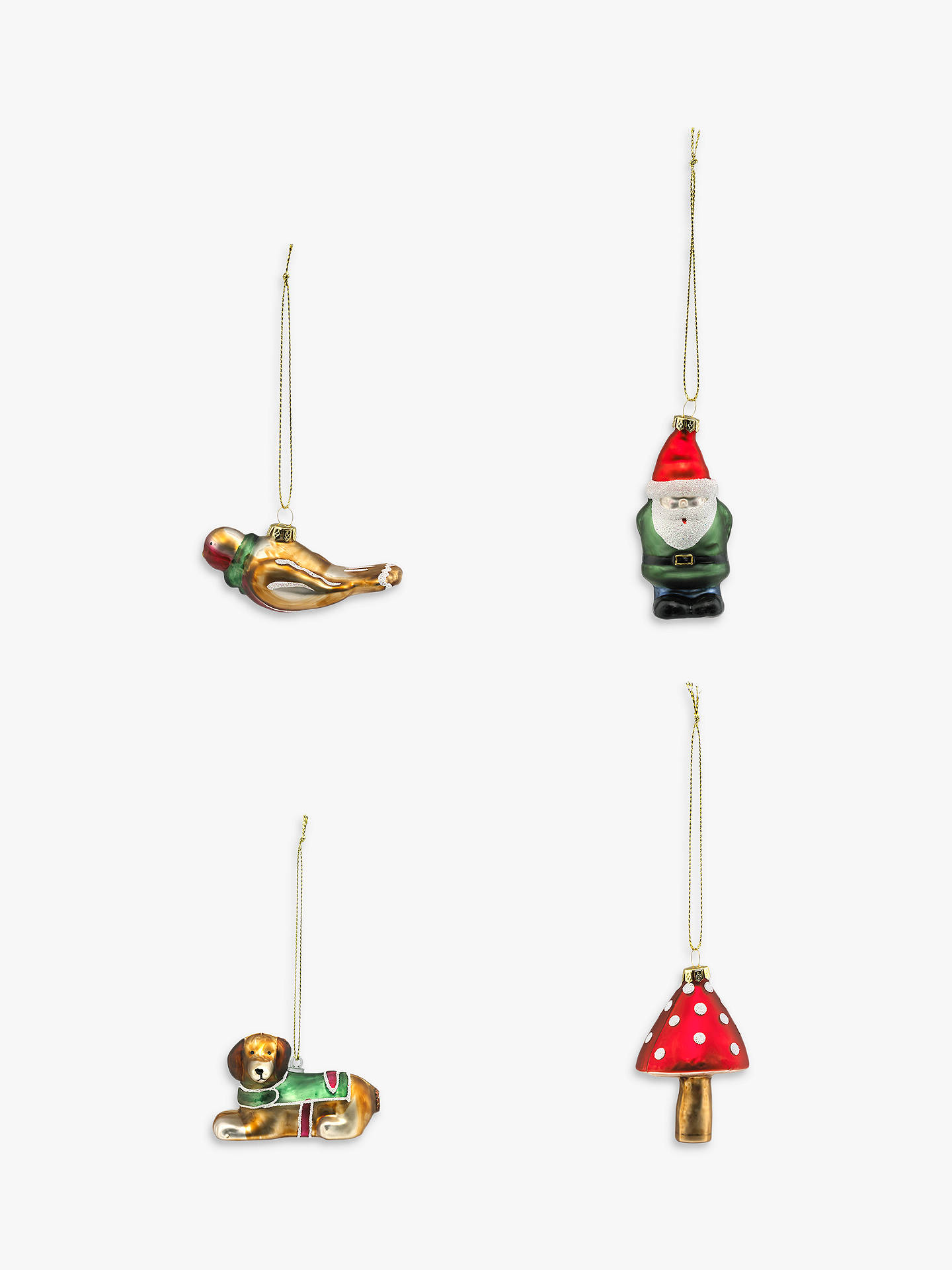 BuyCath Kidston Blown Glass Christmas Tree Decorations, Set of 4 Online at johnlewis.com