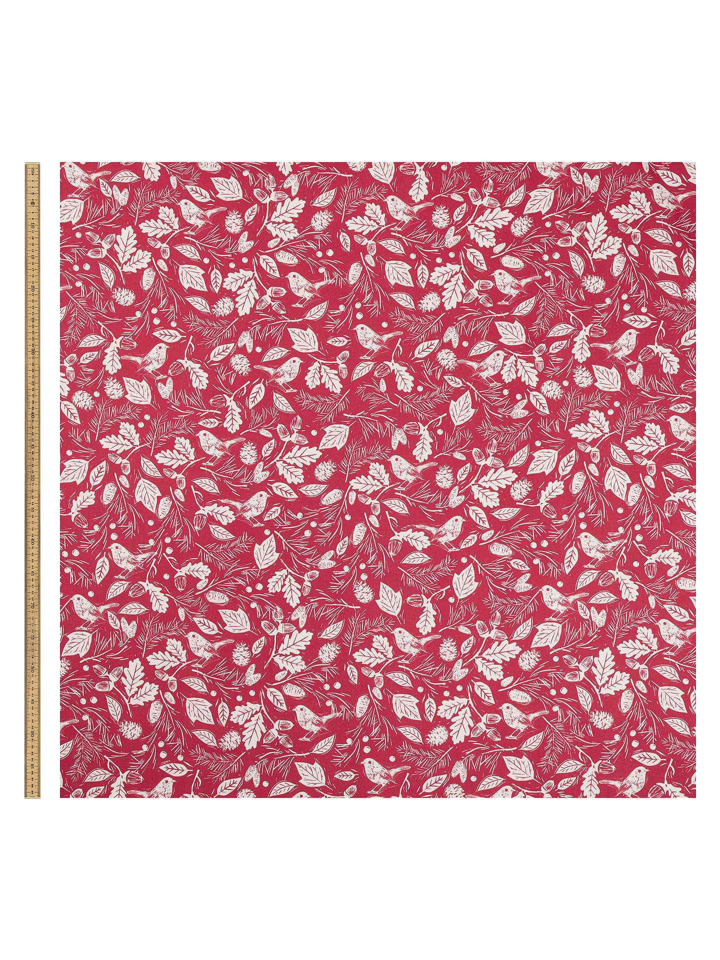 Buy John Lewis & Partners Woodland PVC Tablecloth Fabric, Red Online at johnlewis.com