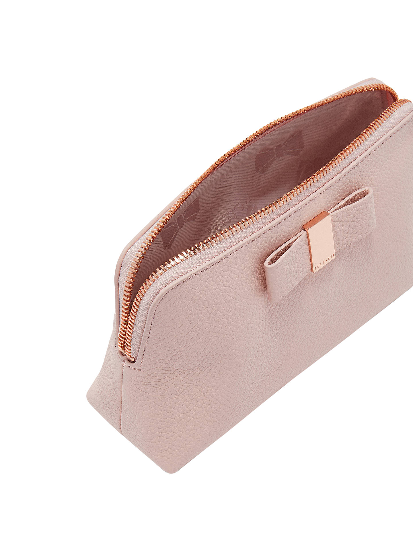 eb230e69e6 ... Buy Ted Baker Dennis Leather Bow Makeup Bag, Light Pink Online at  johnlewis.com ...