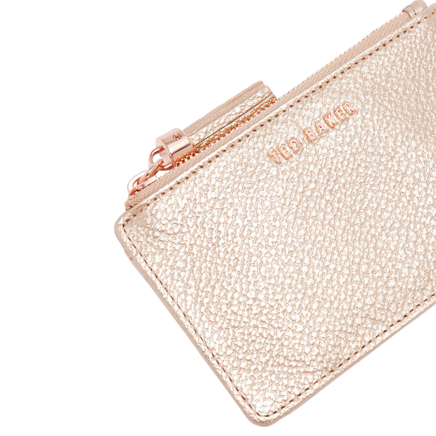BuyTed Baker Sydnee Leather Zipped Card Holder, Rosegold Online at johnlewis.com