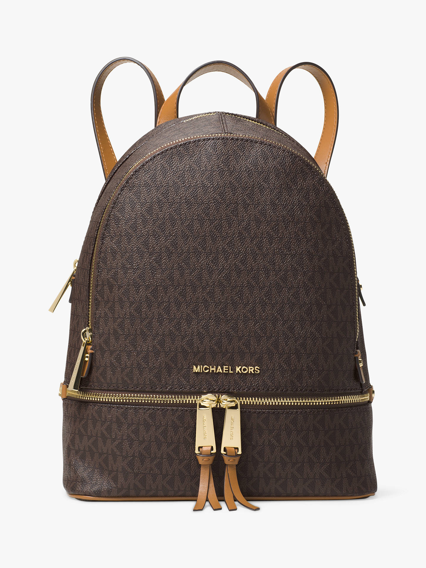 7b975185c944 ... medium slim logo backpack 6bf59 1388b; australia buymichael michael kors  rhea logo backpack brown online at johnlewis ceee6 6f727