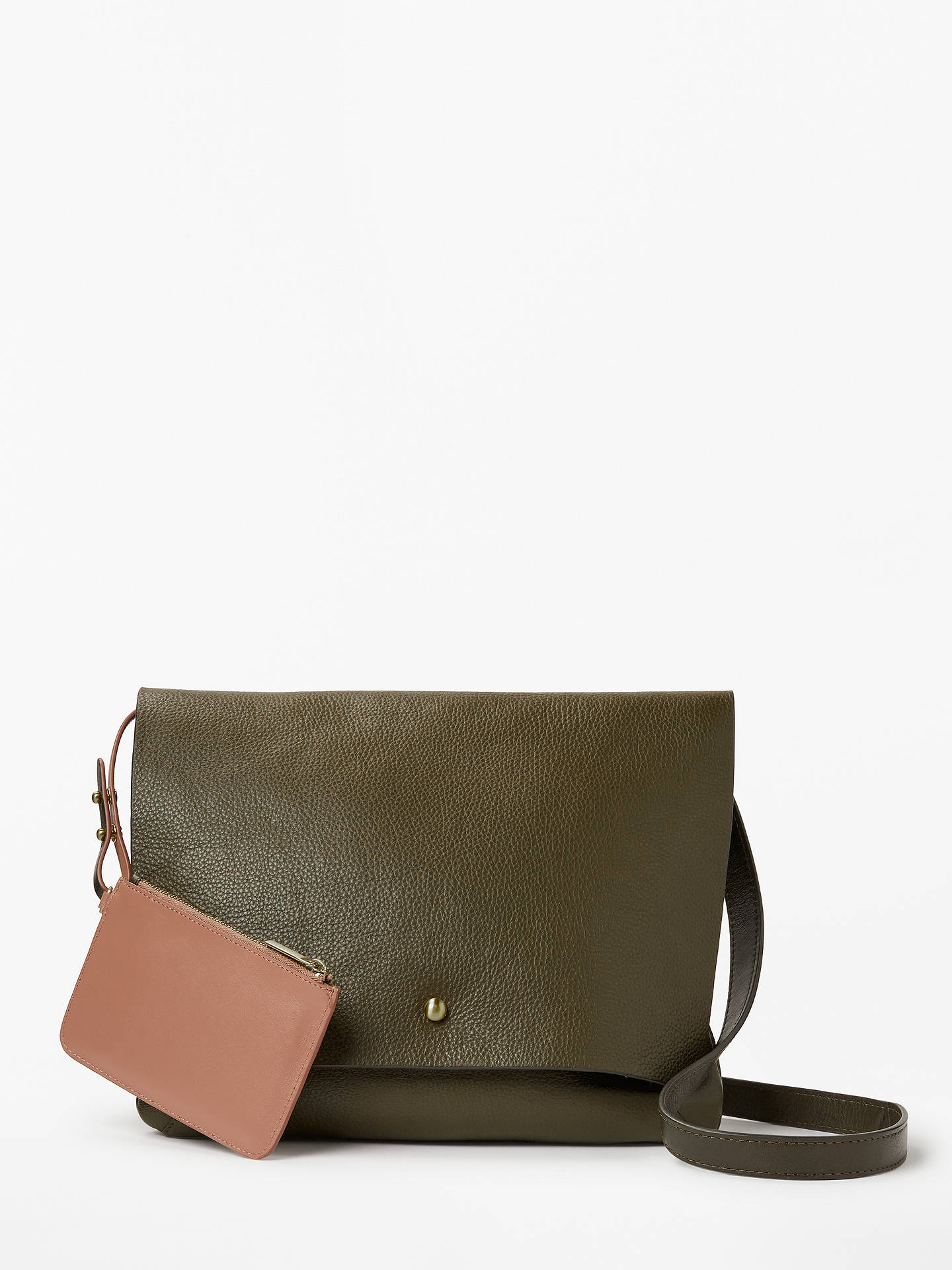 Buy John Lewis & Partners Mae Leather Medium Cross Body Bag, Olive Online at johnlewis.com