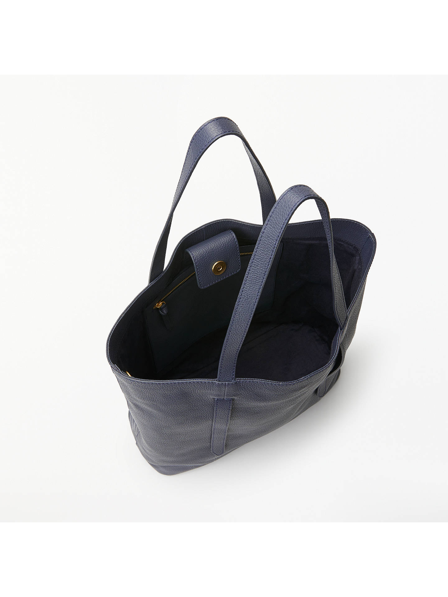 Buy John Lewis & Partners Cecilia Leather North/South Tote Bag, Navy Online at johnlewis.com
